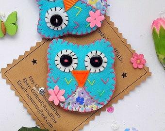 Handmade Felt hair clips, Felt and fabric Blue Owl Hair clip or brooch Pin