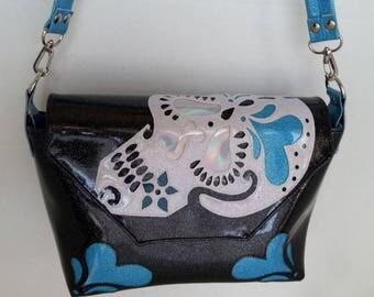 Sugar skull handbag black metalflake vinyl w white sugar skull light blue hearts and hologram vinyl eyes