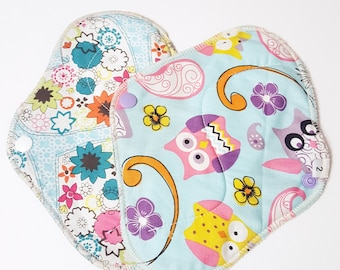 Set of 2 Pink Owls Hearts & Flowers Flowers Printed Reusable Cloth Mama Pads . 8 Inch FREE Shipping