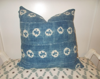 "double sided 18"" by 18"" Faded Indigo Mud cloth pillow cover white African mudcloth back"