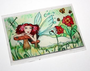 Summer Sparkle Fairy Magnet Flowers Magic Dragonflies Fairy Magnet Fairy Fantasy Art Refrigerator Magnet Fairy Illustration