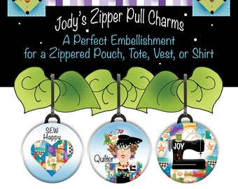 NEW 3 Piece Set of Zipper Charms for Quilters