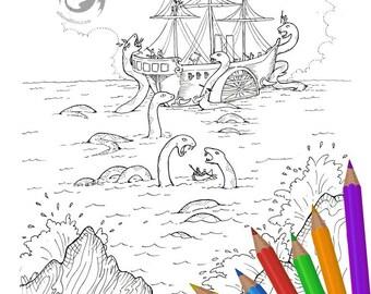 Arguing Over Dinner Sea Monster Battle Digi Stamp Digital Coloring Page for adults - for scrapbooking or cards or coloring