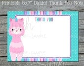 Llamacorn Thank You Card | Llamacorn Party Printables | Thank You Note | Digital Download | Instant Download | Birthday Llama
