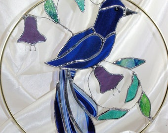 Handmade Stained Glass Royal Blue Tropic Bird Suncatcher
