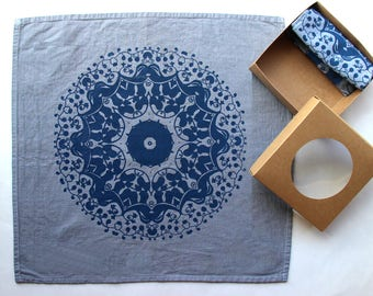Mandala Hand Printed Cloth Napkins - Grey and Gold - Reusable Cloth Napkins - Gray and Navy Kitchen Decor - Thanksgiving Cloth Napkins
