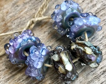 DEW DROP BUMPYS - Handmade Lampwork Beads - Earring Pairs - 6 Beads