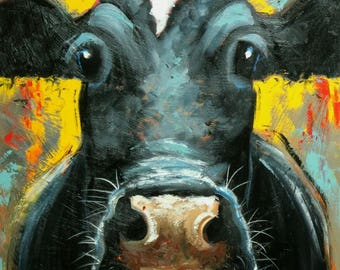 Cow painting animals 1232  24x36 inch original portrait oil painting by Roz