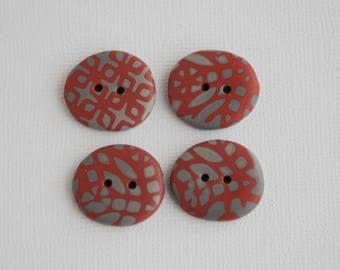 21 mm x 19 mm multicolored patterned handmade Buttons, Set of 4