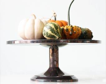 Vintage Cake Stand, Formica by Crescent, Display Pedestal Woodgrain Formica