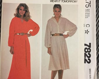 80's Misses' Pullover Dress McCall's 7822 Sewing Pattern  size Small Bust 32-34 inches  Uncut Complete Sewing Pattern