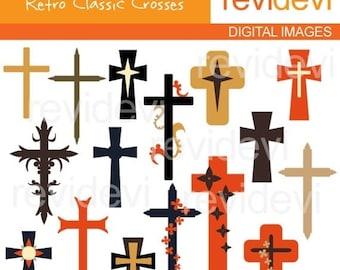 50% OFF SALE Crosses clip art - CHristian cross clipart - Retro Classic Crosses Clipart, instant download - commercial use digital images