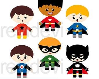 35% OFF SALE Superhero clipart, Superhero emotion boys digital clip art, commercial use clipart