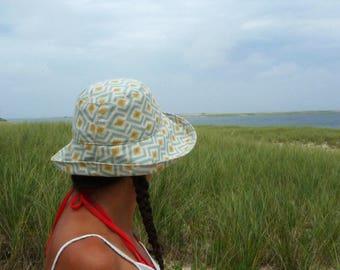 Womens Sunhat, Summer Hat, Wide Brim, Beach Hat, Packable, Avocado, Geometric Pattern, Cotton Hat, Blue, Travel Hat, Diamond, Cloche Sunhat