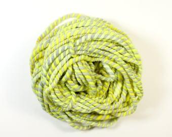 2ply warning ... yarn, wool yarn, handspun yarn, hand spun yarn, rainbow yarn, 2ply candy cane yarn, bulky wool yarn,