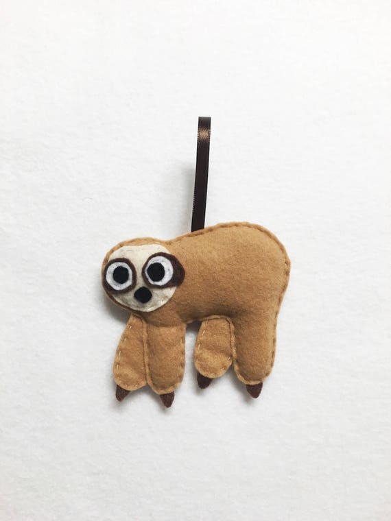 Sloth Ornament, Christmas Ornament, Starla the Sloth, Felt Animal, Unique Christmas Gift, Home Decor