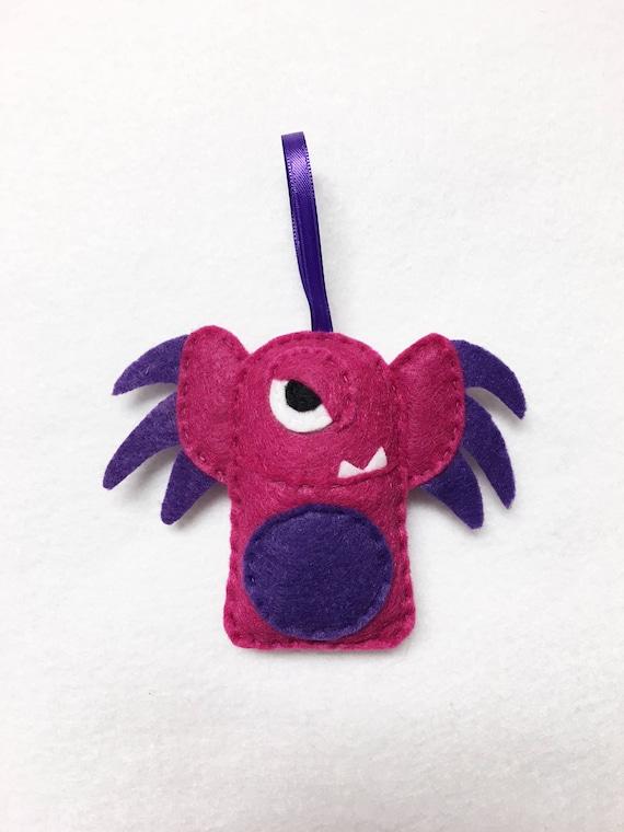 Monster Ornament, Christmas Ornament, Ornament, Argyle the Earwing Monster, Kids Gifts, Stocking Stuffer, Felt Animals