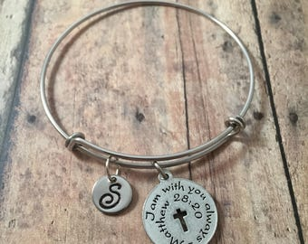 Bible verse initial bangle - bible bracelet, church bracelet, religious jewelry, silver bible verse bangle, Christian jewelry, I am with you