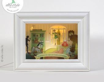 Peter Pan shadowbox nightlight diorama (light & dark skin tones available)