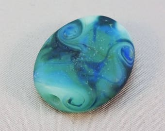 Frosty Mint Green Tranquil Blue Swirls Oval Tab Focal Bead #2597