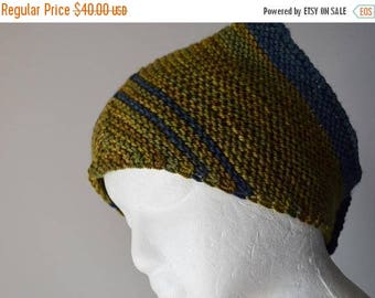 First Fall Sale - 15% Off Hand Knit Kerchief Style Scarf - Soft Luxury Wool Yarn & Wooden Buttons - Green and Blue Striped Triangle Scarf/He