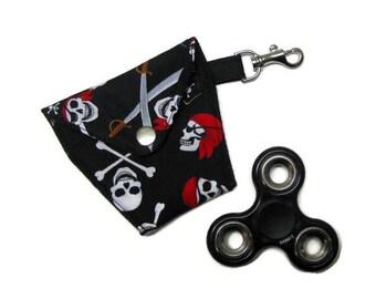 FIDGET SPINNER/EARBUDS case, Lined, padded, snap closure, lanyard hook, Pirates & Skulls