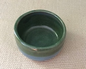 SMALL little blue and green ceramic, pottery, bowl for prep work or trinkets or serving handmade