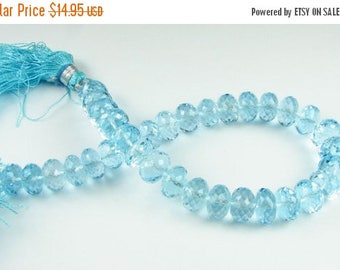 SHOP SALE Exquisite Swiss Blue Topaz Beads - Micro Faceted Rondelle Beads 8mm - 9mm Gemstone Beads (2 gems) Matched Pair for Earrings