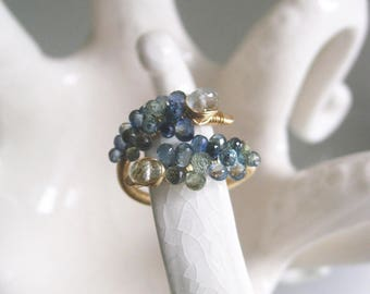 Midnight Blue Sapphire Ring, 14k Gold Filled Gemstone Cocktail Ring with Blue Topaz, Artisan Made, Size 8 9