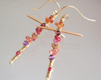 Crucifix Earrings, Gemstone Cross Earrings, 14k Gold Filled with Sapphire, Amethyst, Garnet, Religious Earrings, Stylized and Colorful