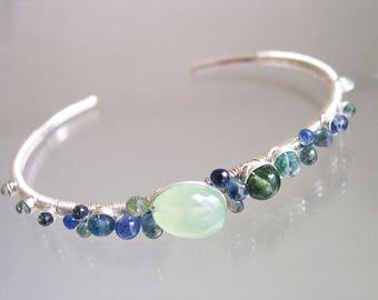 Blue Sapphire Prehnite Cuff, Gemstone Sterling Bracelet, Stacking Silver Cuff, Apatite, Emerald, Sea Jewels, Ocean Hues, Artisan Made