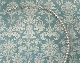 Sterling silver, dainty bead and chain bracelet