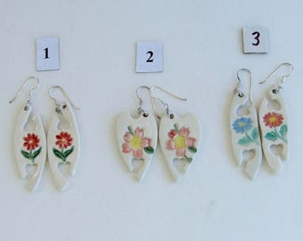 Handmade Porcelain Earrings, Hand Painted Tatting Shuttles, Sterling French ear wires. Choose One Set