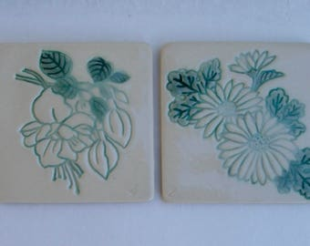 Ceramic Coasters, Hand Built  set of Two, Fuchsia and Mums
