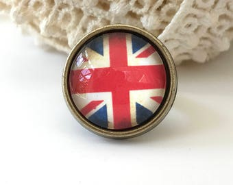 Union Jack British Flag Antique Brass Adjustable Ring