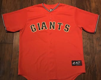 Vintage 1990s 90s Majestic San Francisco sf Giants Orange MLB Sewn Baseball Jersey Made in USA Mens Sportswear Size XL
