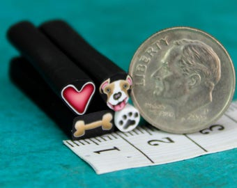 Pit Bull / Boxer Dog, Set of 4 ITTY BITTY Polymer Clay Canes -'Puppy Love' (38D)