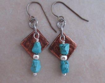 healing is not linear earrings turquoise copper sterling silver