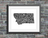 Montana typography map ar...