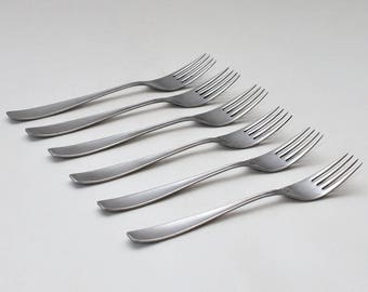 Mid Century Avri Stainless Holland Flatware Forks, Set of 6