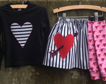 Girls Valentine's day I HEART Stripes Outfit - Leg Warmer, Skirt, Shirt/Baby Bodysuit - Sizes to fit Babies, Toddlers, Children and Big Kids