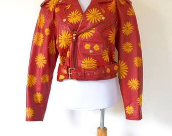 SUMMER SALE/ 30% off Vintage 80s 90s Hand Painted Siren Red Leather Flower Power Cropped Motorcycle Jacket (size medium, large)