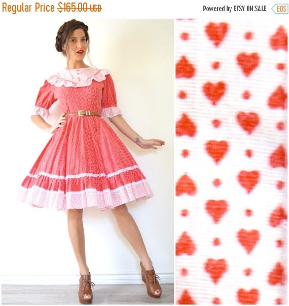 SUMMER SALE / 20% off Vintage 60s 70s Hearts and Polka Dots Red and White Full Circle Square Dancing Dress (size medium)
