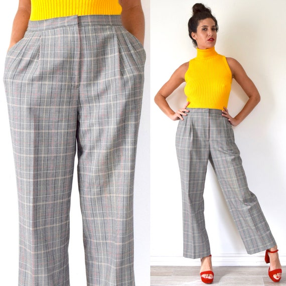 Vintage 80s 90s High Waisted Houndstooth Plaid Pleated Straight Legged Trousers (size 29, 30)