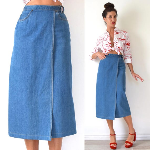 Vintage 90s High Waisted Denim Wrap Midi Skirt (size xs, small)