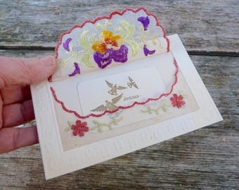 Vintage Antique 1900/1910 French  postcard  hand embroidered organdi fabric  Pansys With  smaller card inside