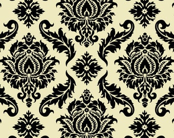 HALF YARD - Joel Dewberry Fabric, Aviary 2 Collection, Damask in Cavern, cotton quilting fabric -  SALE