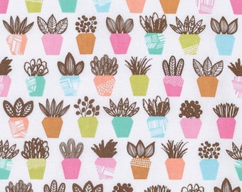 HALF YARD - Erin McMorris Fabric, Intermix, Terra, Petal, Potted Plants, cotton quilting fabric