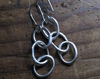 Sterling Silver Triple Organic O Dangle