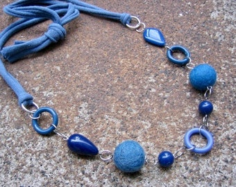 Eco-Friendly T Shirt Yarn Statement Necklace - Out of the Blue - Recycled Vintage & Felted Wool Beads in Different Shapes and Shades of Blue